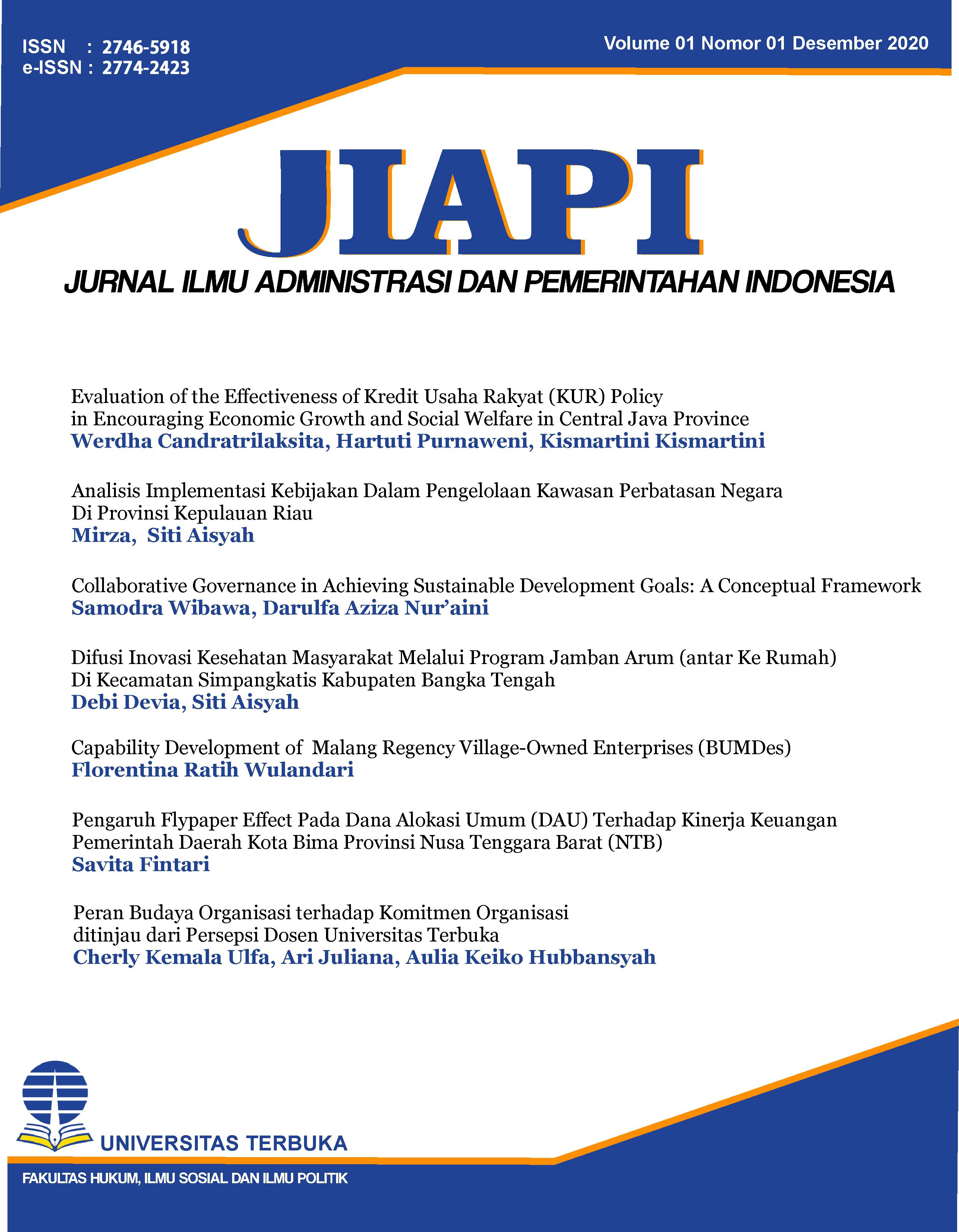 View Vol. 1 No. 01 (2020): JIAPI : Jurnal Ilmu Administrasi dan Pemerintahan Indonesia
